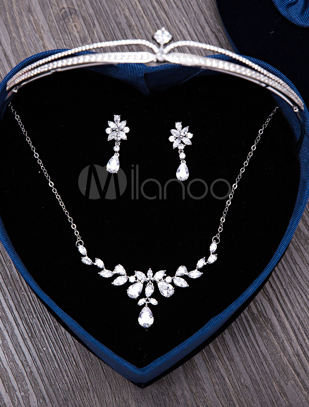 Buy Wedding Jewelry Set Silver Tiara Headpieces Bridal Pendant Necklace With Drop Earrings for $59.39 in Milanoo store