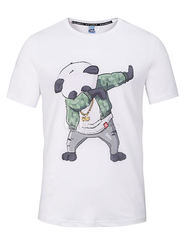 Men White T Shirt Short Sleeve Panda Print Cotton Tee Top