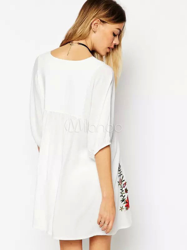 White Summer Dress Plus Size Ethnic V Neck Half Sleeve Embroidered Shift  Dress