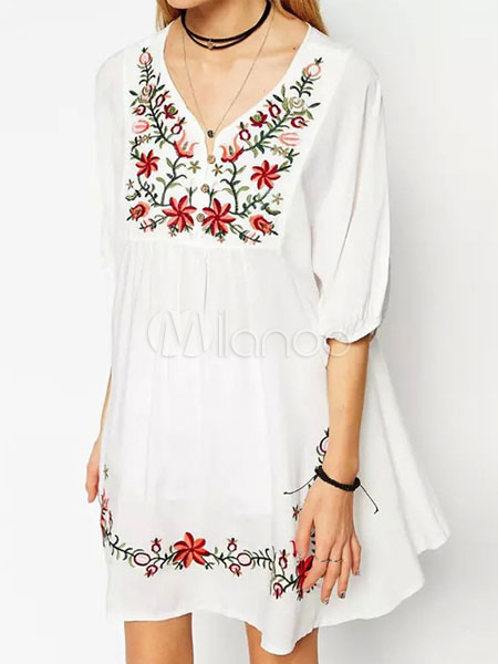 Buy White Summer Dress Plus Size Ethnic V Neck Half Sleeve Embroidered Shift Dress for $35.99 in Milanoo store