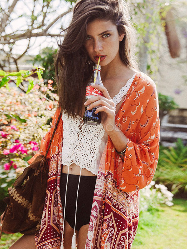Boho Cover Ups Plus Size Chiffon Orange 3/4 Length Sleeve Printed Beach Swimwear Cheap clothes, free shipping worldwide