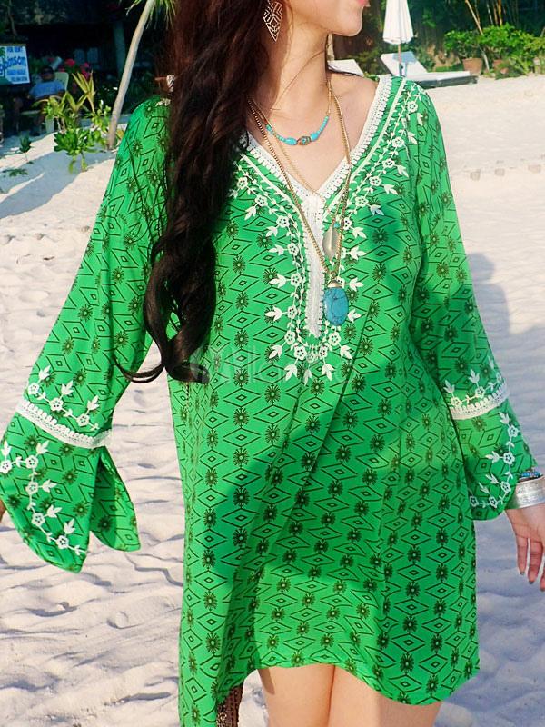 Buy Green Shift Dress Plus Size Boho V Neck 3/4 Length Sleeve Printed Short Dress for $35.99 in Milanoo store