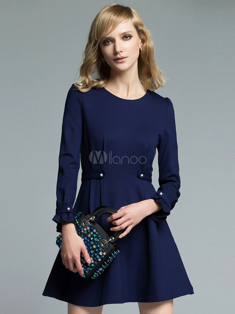 Buy Women's Skater Dress Deep Blue Round Neck Ruffle Long Sleeve Studded Slim Fit Pleated Short Dress for $53.99 in Milanoo store