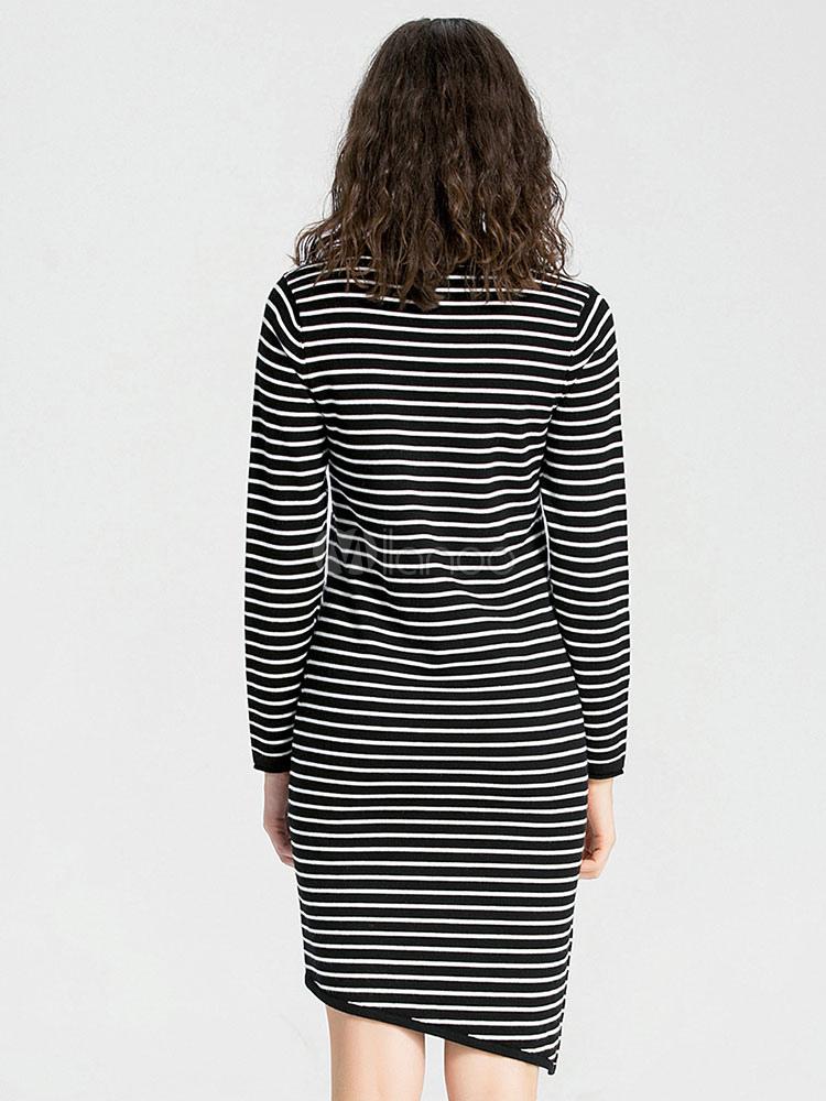 b2c9b3062f62 ... Women's Black Dress Horizontal Striped Long Sleeve High Low T Shirt ...