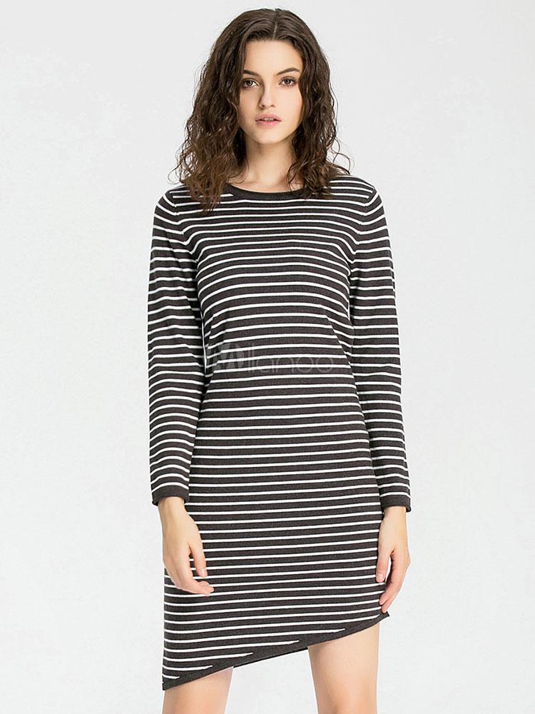 60c347c4e62d Women's Black Dress Horizontal Striped Long Sleeve High Low T Shirt ...