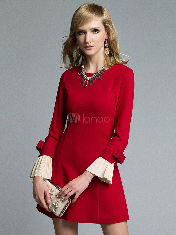 b114d0aac9d0 Vestito rosso manica lunga polsino pieghe Bow donna girocollo A linea Mini  abito-No.