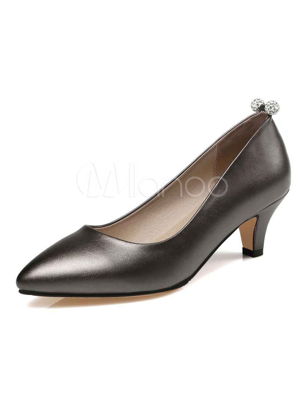 Buy Pointed Toe Pumps Kitten Heel Women's Black Rhinestones Detail Slip On Pump Shoes for $37.99 in Milanoo store