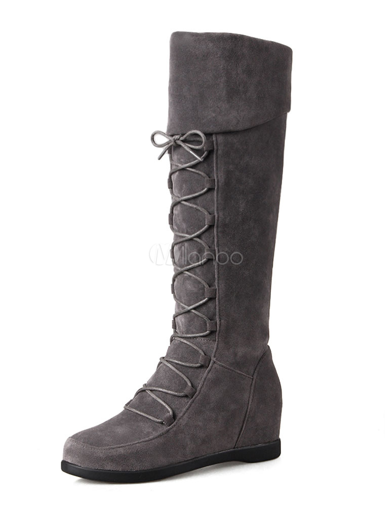 Buy Suede Knee High Boots Grey Round Neck Lace Up Hidden Heel Winter Boots For Women for $44.09 in Milanoo store