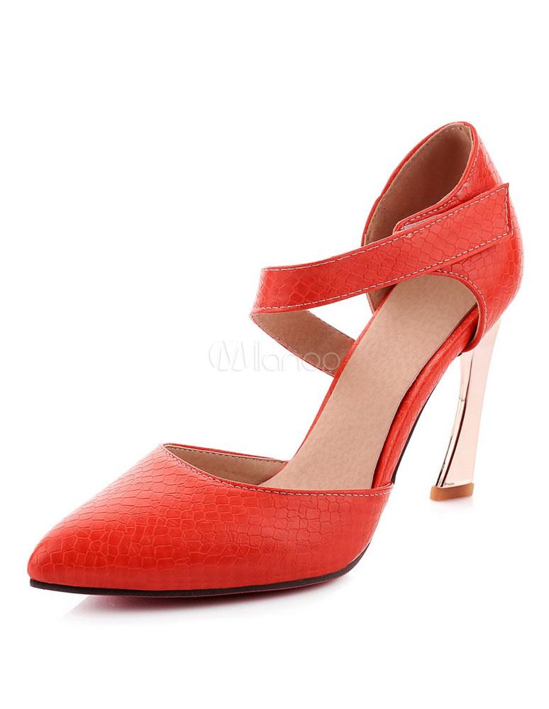 Zapatos de tacón de puntera puntiaguada de PU Color liso de tacón irregular iJxke1