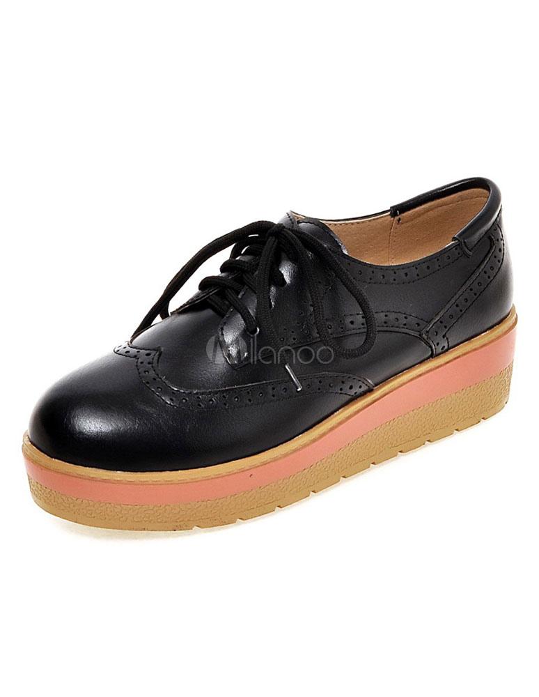 23a2b82f7c ... Zapatos de Oxford de tacón de cuña de puntera redonda con cinta Color  lisopara ocasión informal ...
