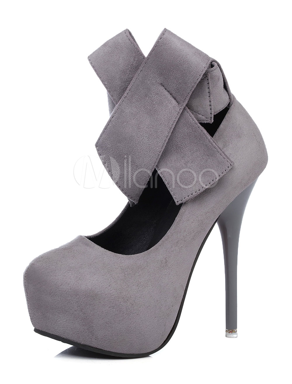 5f1f9c92ab Grey High Heels Platform Suede Round Toe Ankle Strap Bow Stiletto Heel Shoes-No.  1. 20%OFF. Color:Grey