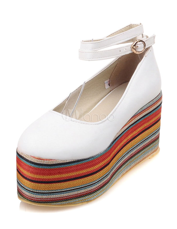 Buy White Flatform Shoes Women's Round Toe Ankle Strap Multicolor Platform Shoes for $35.14 in Milanoo store
