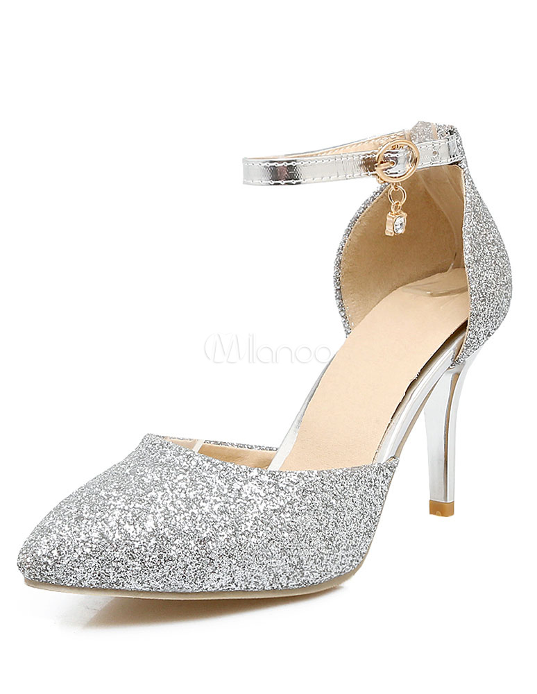 a8ac287435d Silver Sparkly Heels Pointed Toe Women s Elegant Ankle Strap Evening Shoes-No.  ...