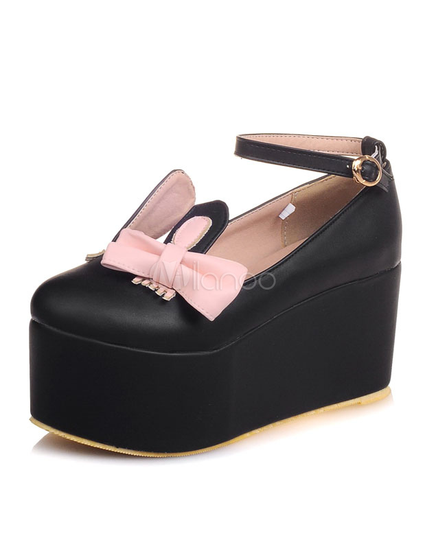 Buy Black Flatform Shoes Women's Round Toe Bow Ankle Strap Platform Shoes for $35.14 in Milanoo store