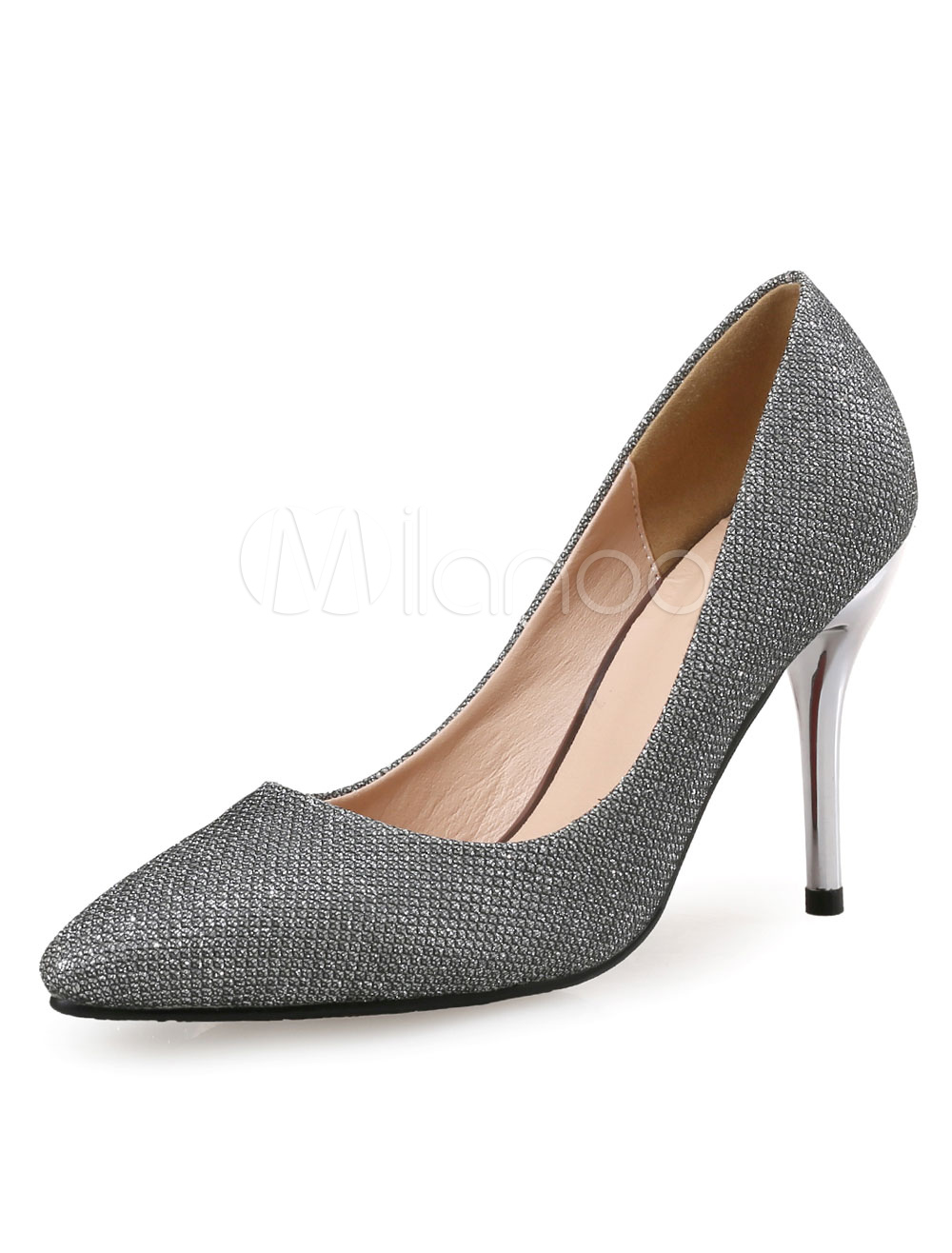Buy Sequin Evening Shoes High Heel Silver Grey Pointed Toe Slip On Stiletto Heel Pumps for $33.24 in Milanoo store