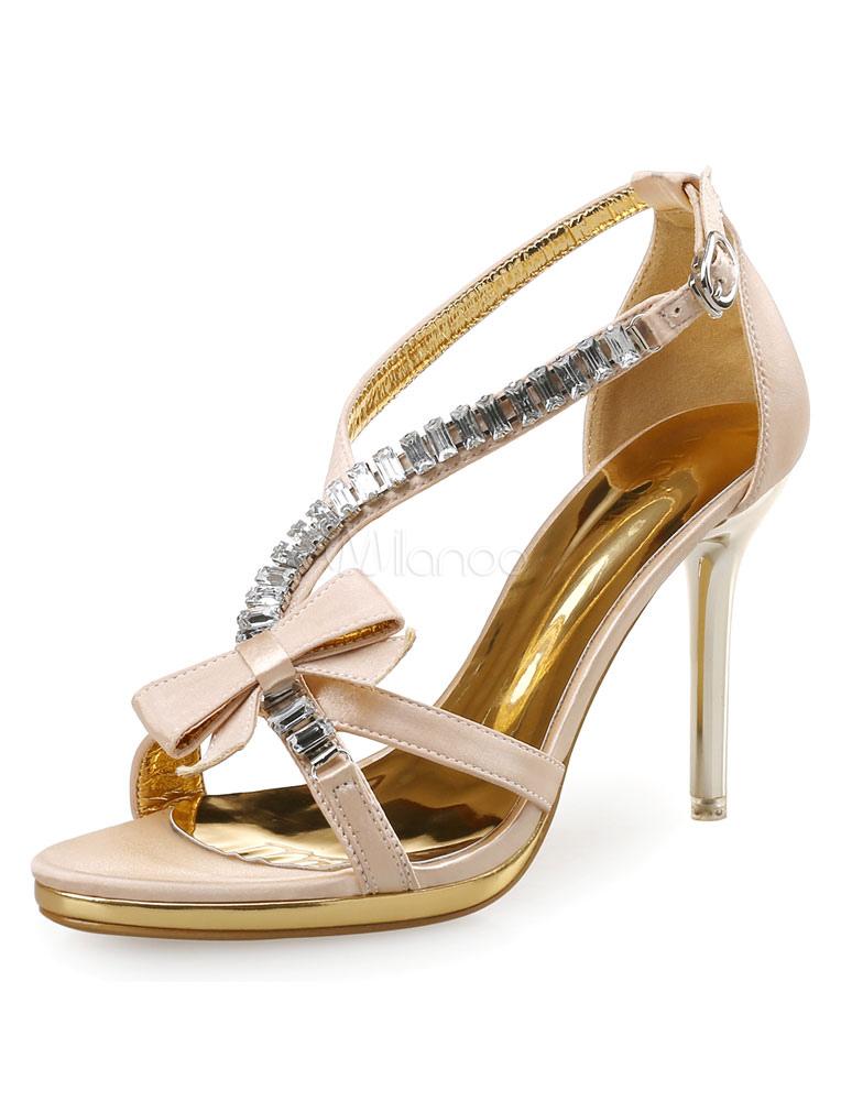 Apricot Dress Sandals High Heel Rhinestone Bow Strap Adjustable Sandal Shoes For Women