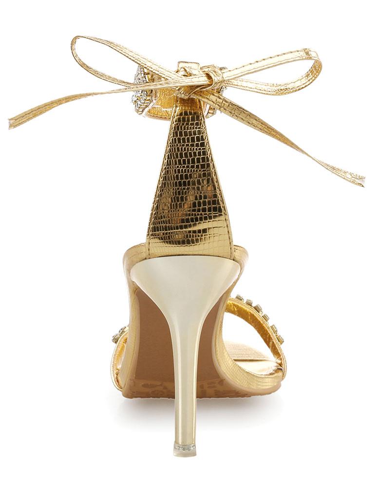Gold Dress Sandals 2018 High Heel Rhinestone Beaded Ankle Strap Sandal Shoes Women -6170