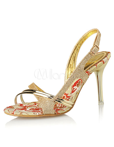 8e31dcfa4668 Gold Dress Sandals High Heel Glitter Criss Cross Stiletto Heel Sandal Shoes-No.1  ...