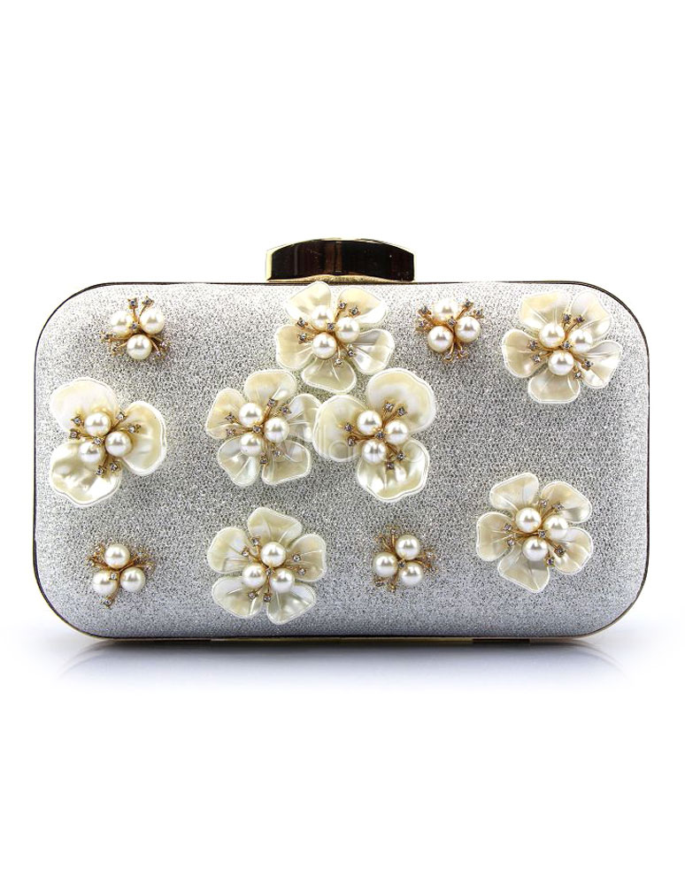 Buy Silver Evening Handbags Glitter Pearl Flower Horizontal Mini Wedding Clutch Bags for $29.99 in Milanoo store