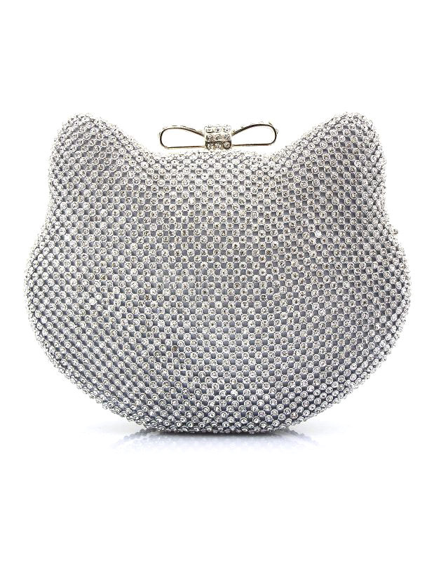 Buy Glitter Evening Handbags Silver Cat Shaped Rhinestone Kiss Lock Mini Wedding Clutch Bags for $34.99 in Milanoo store