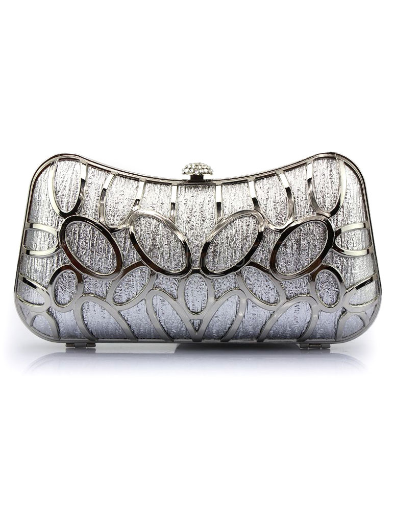 Buy Silver Evening Handbags Cut Out Pillow Shaped Snap Wedding Clutch Bags for $37.04 in Milanoo store
