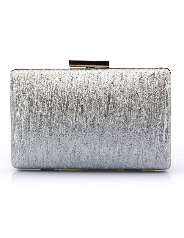 Silver Evening Handbags Vertical Kiss Lock Wedding Clutch Bags