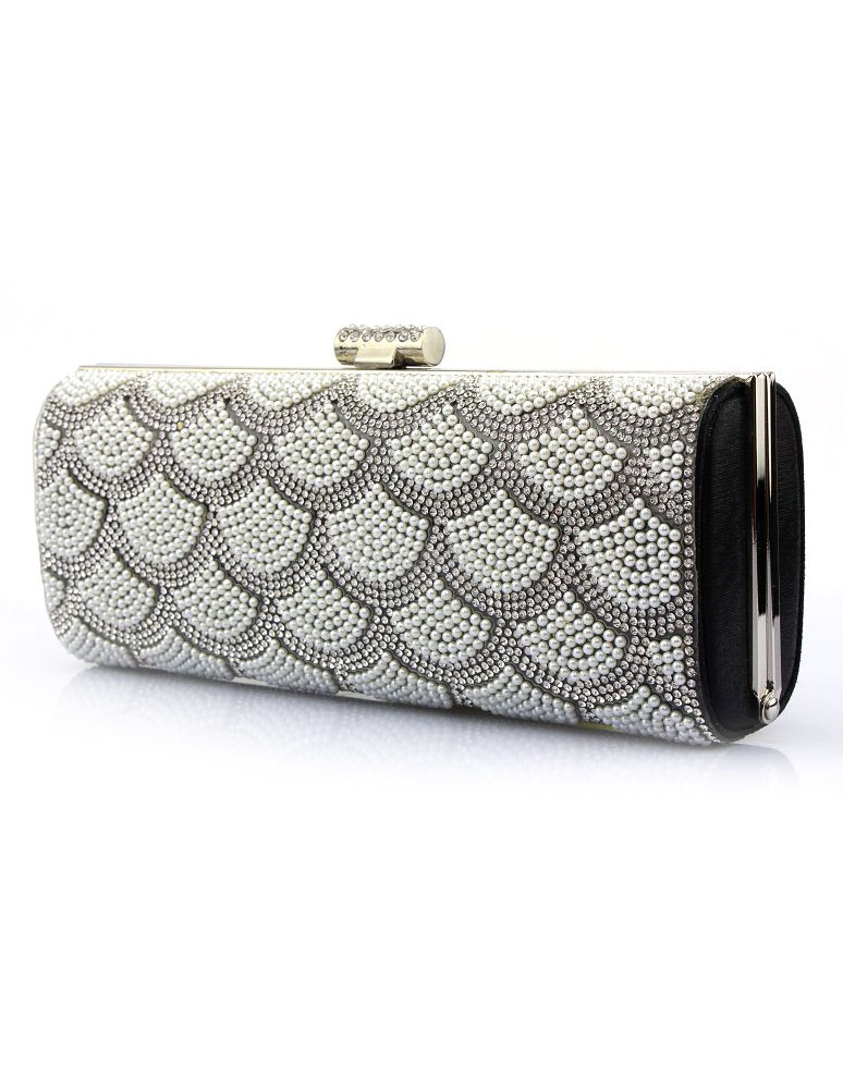 Buy Wedding Clutch Bags Pearl Rhinestone Horizontal Kiss Lock Evening Handbags for $32.29 in Milanoo store