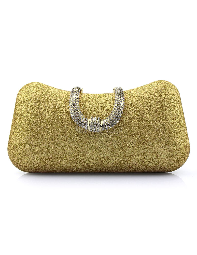Wedding Clutch Bags Gold Sequined Rhinestones Floral Print Pillow Shaped Bridal Evening Bags With Detachable Chain