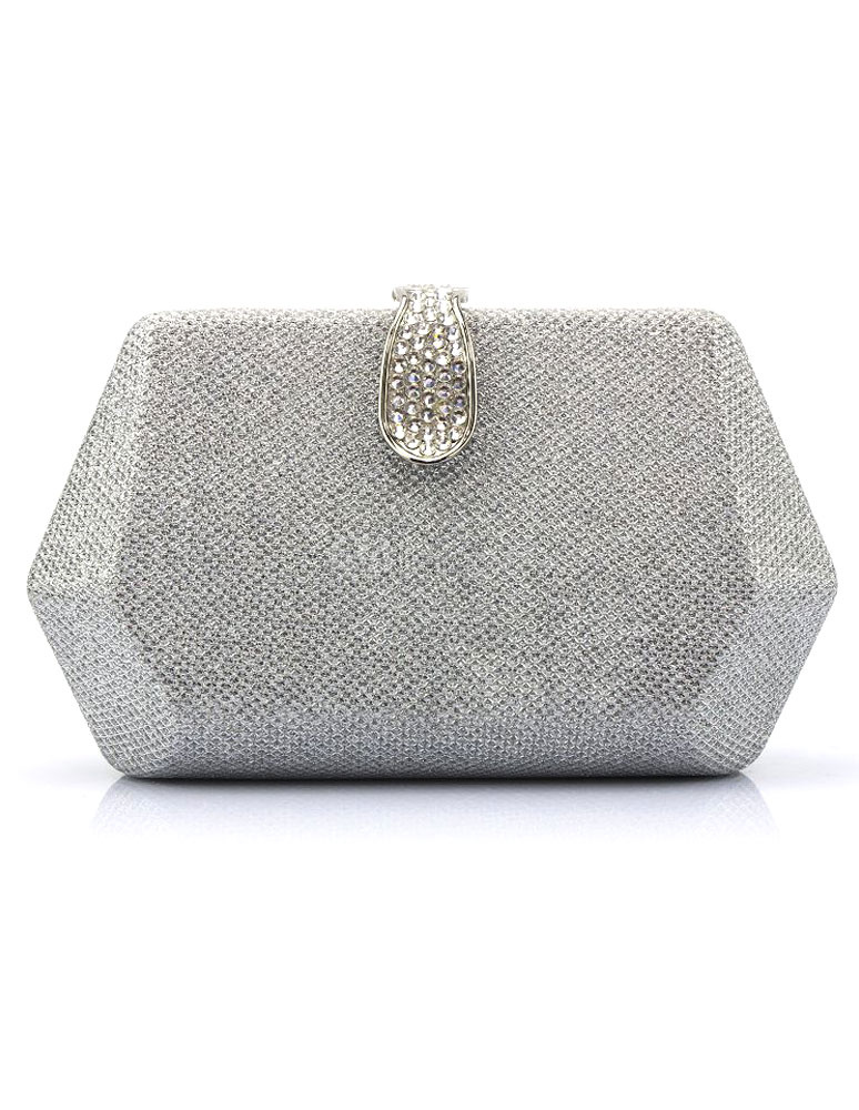 Glitter Evening Handbags Silver Rhinestone Kiss Lock Mini Wedding Clutch Bags