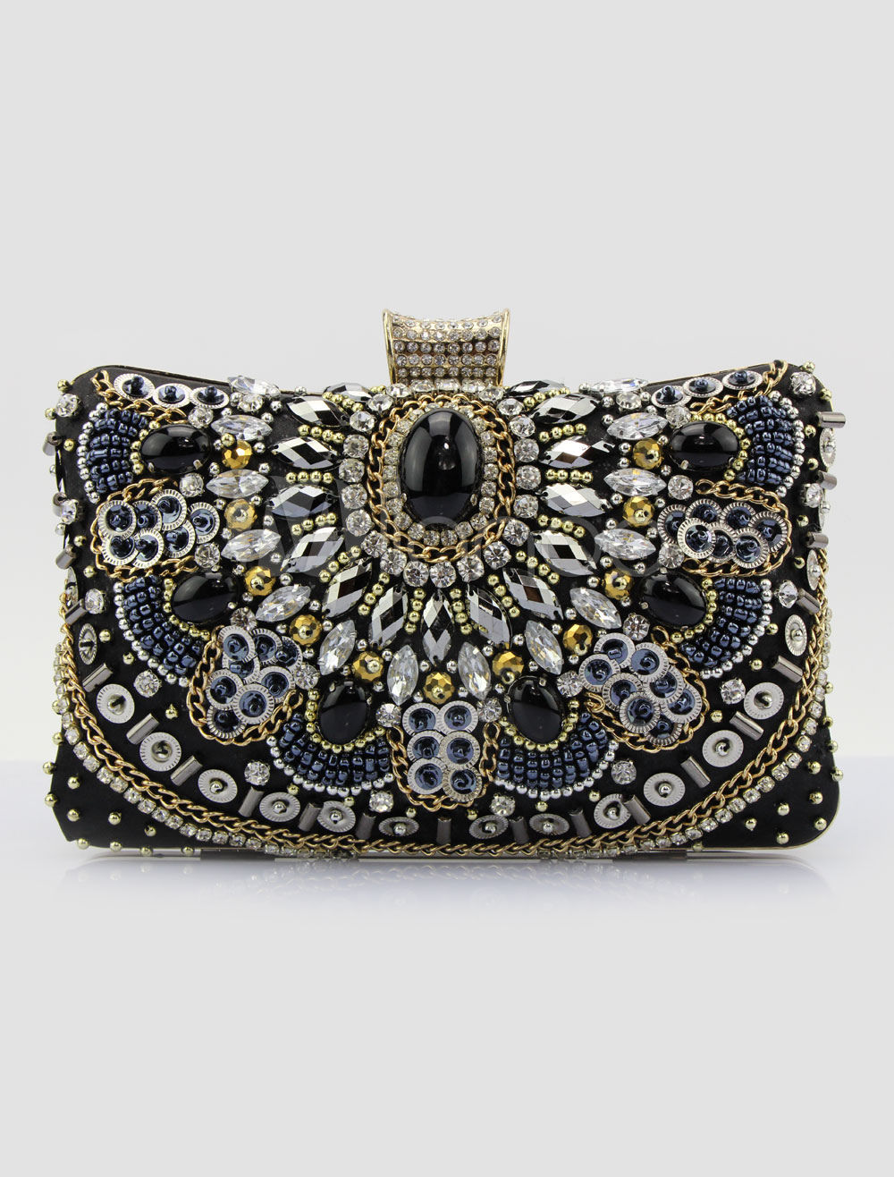 Black Clutch Bags Wedding Studded Evening Handbags