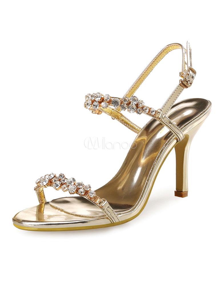 Gold Dress Sandals High Heel Rhinestones Beaded Strap Adjustable Sandal Shoes