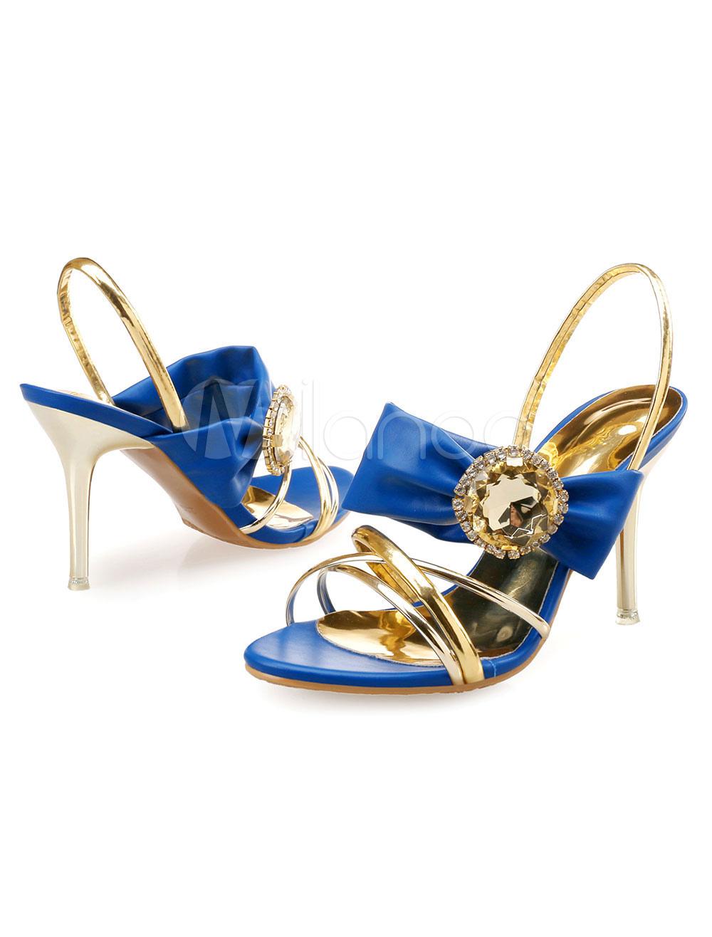 High Heel Dress Sandals Two Tone Rhinestone Bow Stiletto Heel Sandal Shoes For Women