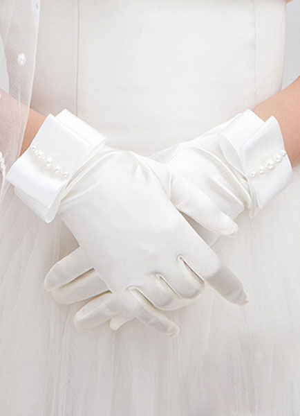 Vintage Wedding Gloves White Short Satin Bridal Gloves With Pearls Bow
