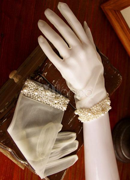 White Wedding Gloves Vintage Short Fingertips Bridal Gloves With Pearls