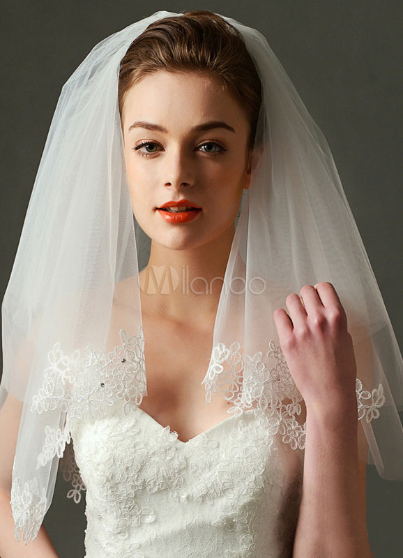 Buy Comb Wedding Veil Tulle Ivory Lace Applique 2 Tier Bridal Veil for $23.74 in Milanoo store