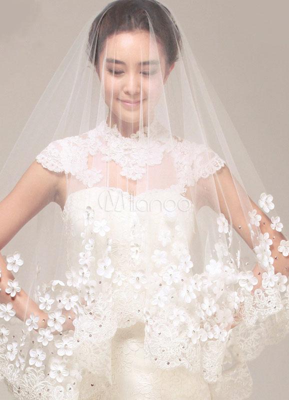 Cathedral Wedding Veil 3D Flowers Lace Trim 1 Tier White Bridal Veil