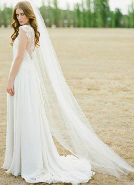 Cathedral Comb Wedding Veil White Tulle 1 Tier Cut Edge Bridal Veil