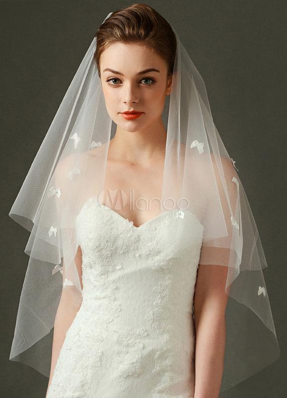 Comb Wedding Veil Tulle Ivory Elbow 2 Tier 3D Bows Cut Edge Bridal Veil