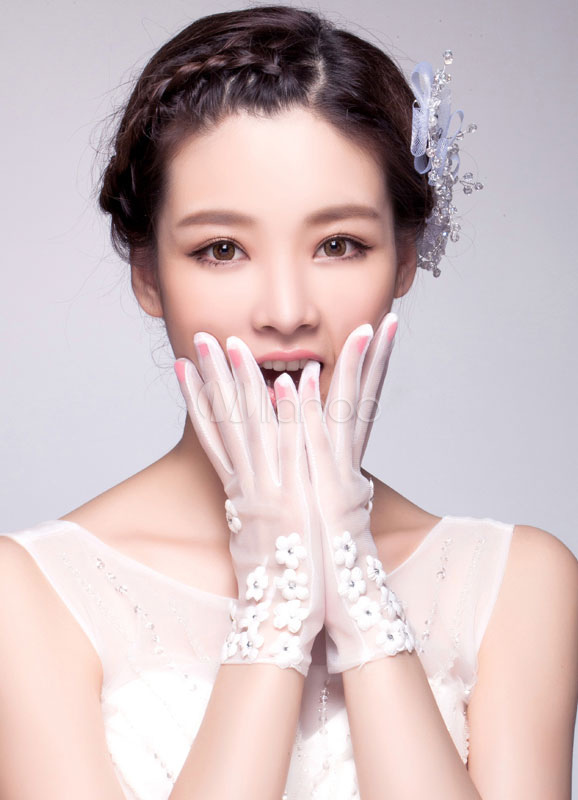 White Wedding Gloves Short Tulle Fingertips Bridal Gloves With Lace Flowers