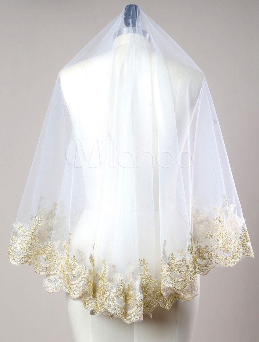 White Wedding Veil Lace Applique Edge Oval Shape Bridal Veil