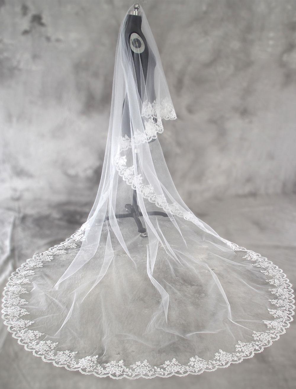 Tulle Wedding Veil Cathedral White Lace Applique Edge Bridal Veil
