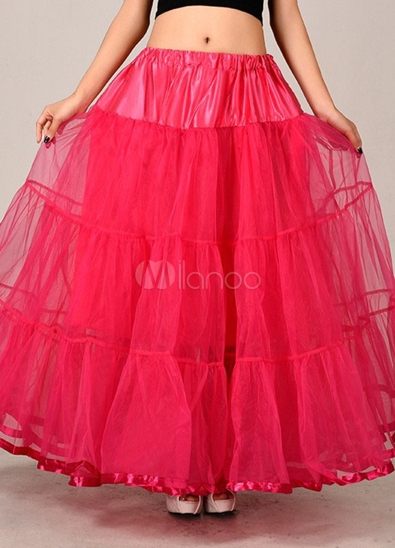 Red Wedding Petticoats Taffeta Two Tier A Line Boneless Bridal Petticoats