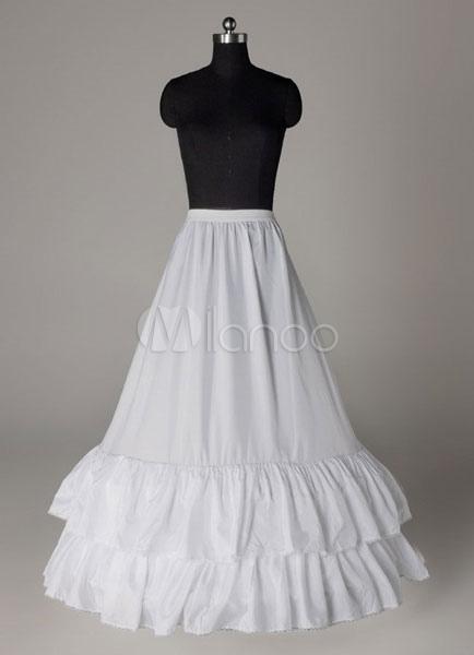 Buy White Long Petticoats Taffeta A Line Ruffle Two Tier Boneless Wedding Petticoats for $18.99 in Milanoo store