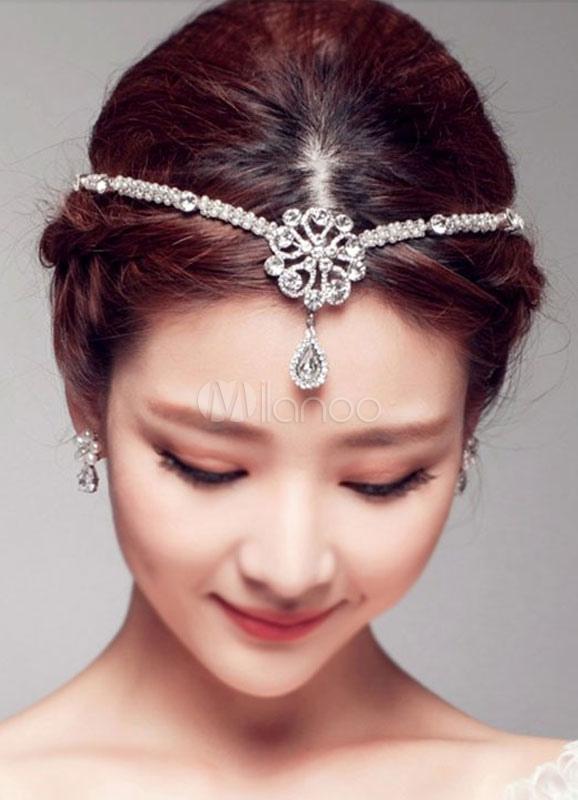 Pearls Wedding Headpieces Forhead Chain Rhinestones Beaded Bridal Hair Accessories