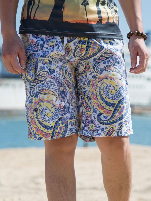 Hawaiian Board Shorts Blue Men Paisley Printed Drawstring Waist Beachwear