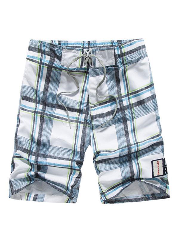 Men Beach Shorts Plaid Capri Shorts Drawstring Summer Shorts