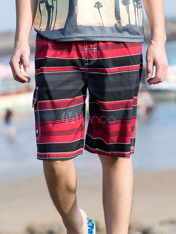 Borgoña Rayas Bermudas Verano Swim Shorts Horizontales Hombres uFlTK1Jc3