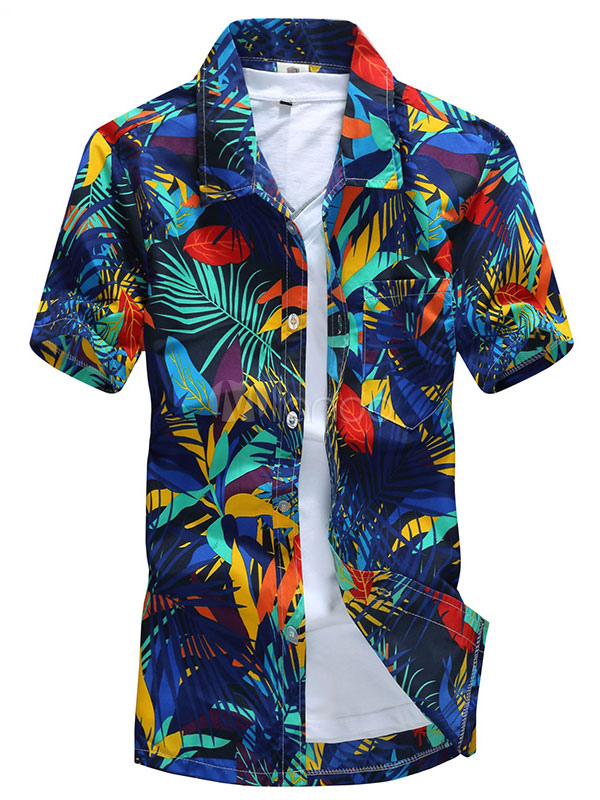 Blue Hawaiian Shirts Men'S Leaf Printed Short Sleeve Summer Beach Shirt