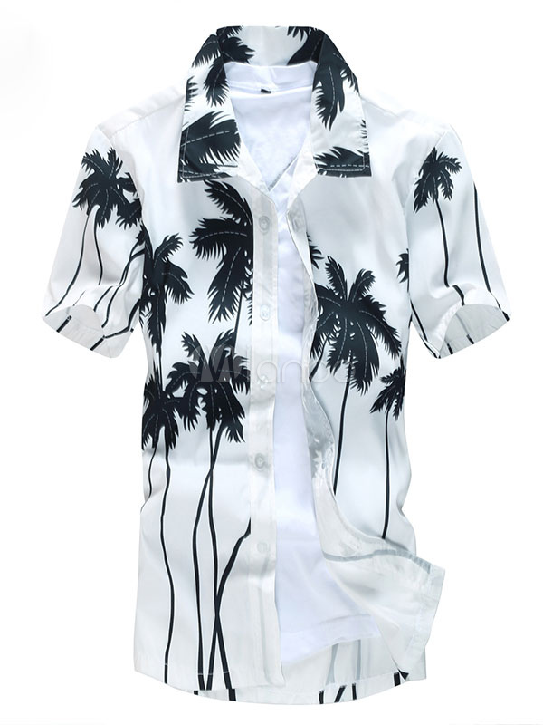 White Hawaiian Shirts Men's Short Sleeve Cocoanut Tree Printed Summer Beach Shirt
