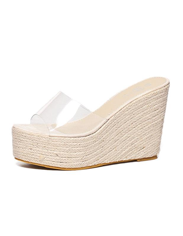 0660246c52 Apricot Sandal Slippers Women Transparent Peep Toe Backless Wedge Sandal  Shoes Platform Espadrilles Sandals-No ...